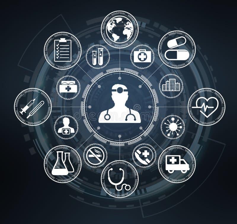 Современный медицинский интерфейс с переводом значков 3D иллюстрация штока