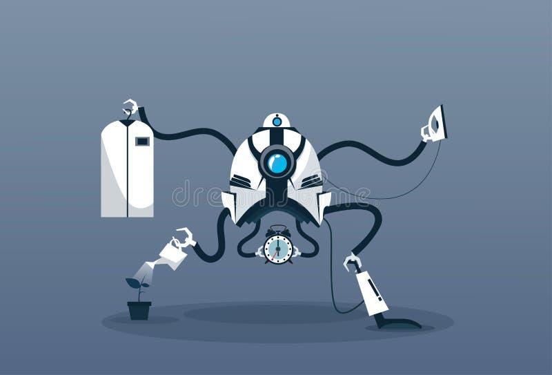 Современный механизм чистки искусственного интеллекта технологии домоустройства робота бесплатная иллюстрация