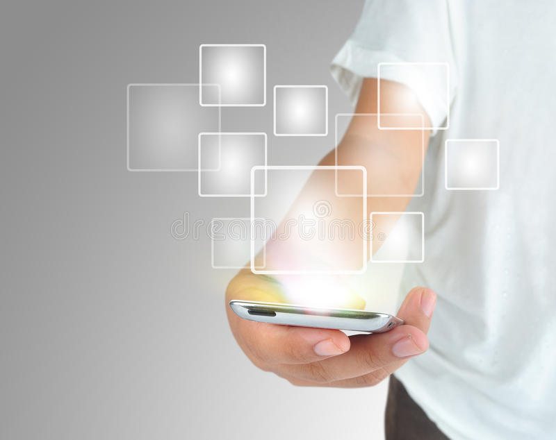 Современный мобильный телефон техники связи стоковые изображения rf