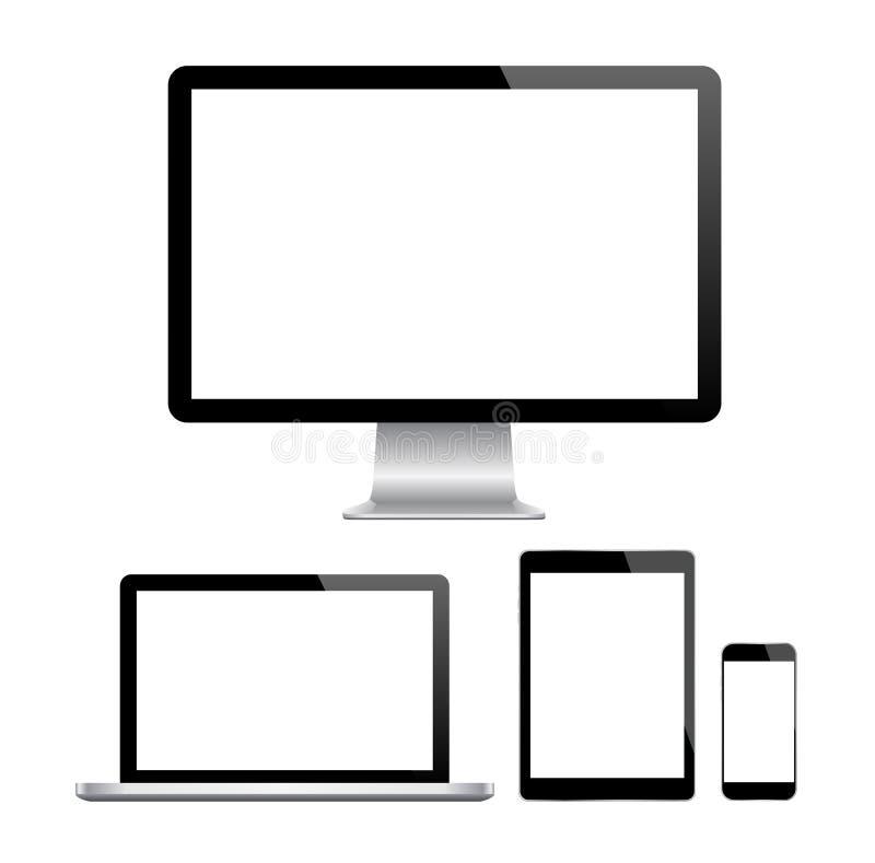 Современный монитор, компьютер, компьтер-книжка, телефон, таблетка бесплатная иллюстрация