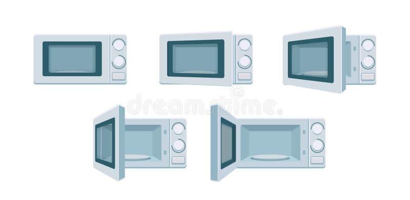 Современный набор микроволновой печи готов к анимации Открытые и закрытые позы печи на передней панели Степень открытости печи дл иллюстрация вектора