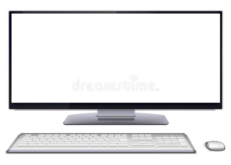 Современный настольный компьютер с пустым экраном бесплатная иллюстрация