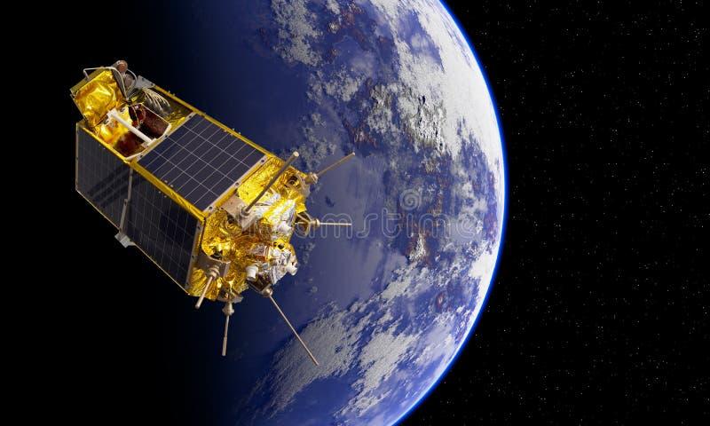 Современный научный и воспитательный спутник космоса на орбите иллюстрация штока