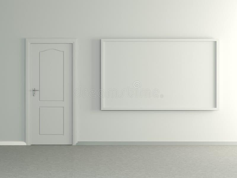Современный домашний интерьер с изображением и дверью. 3D. иллюстрация штока