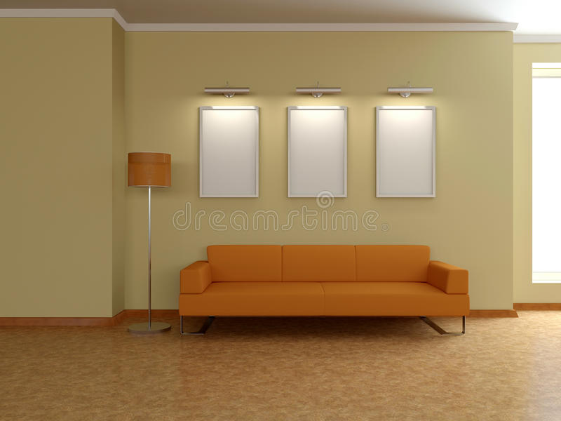 Современный домашний интерьер с софой, картинами. 3D. иллюстрация вектора
