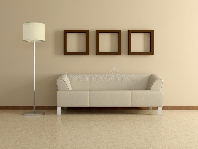 Современный домашний интерьер с софой, картинами. 3D. бесплатная иллюстрация