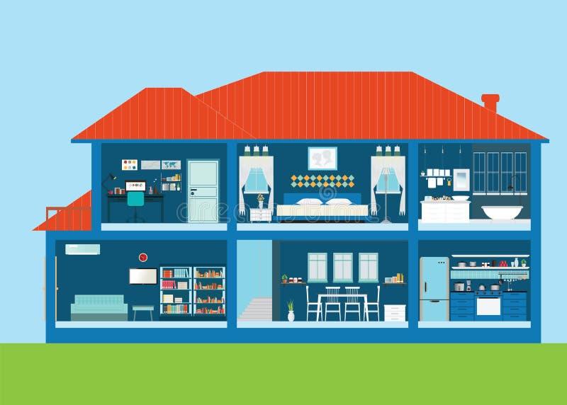 Современный домашний экстерьер дизайна и внутренняя комната с мебелью бесплатная иллюстрация