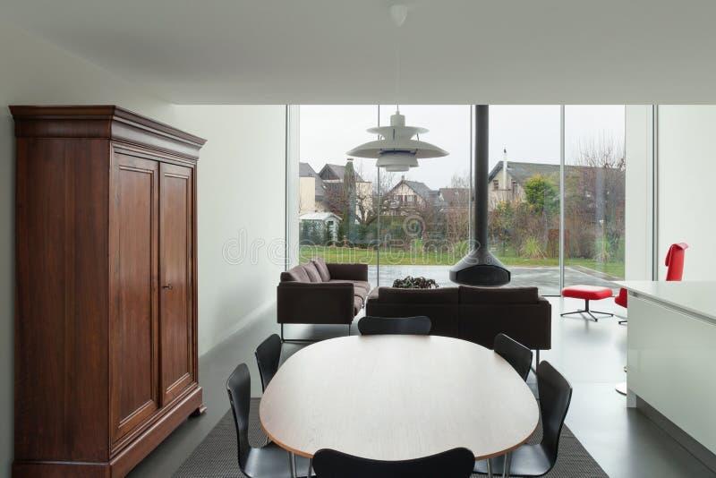 Современный дом, столовая стоковое фото rf