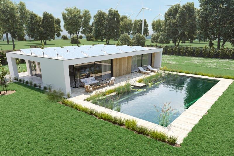 Современный дом eco перевод 3d стоковое изображение rf