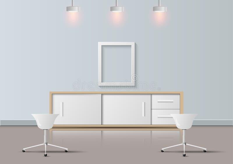 Современный офис реалистический и дизайн комнаты отдыха, иллюстрация вектора иллюстрация штока
