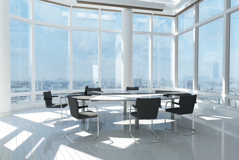 Современный офис с много окон иллюстрация вектора