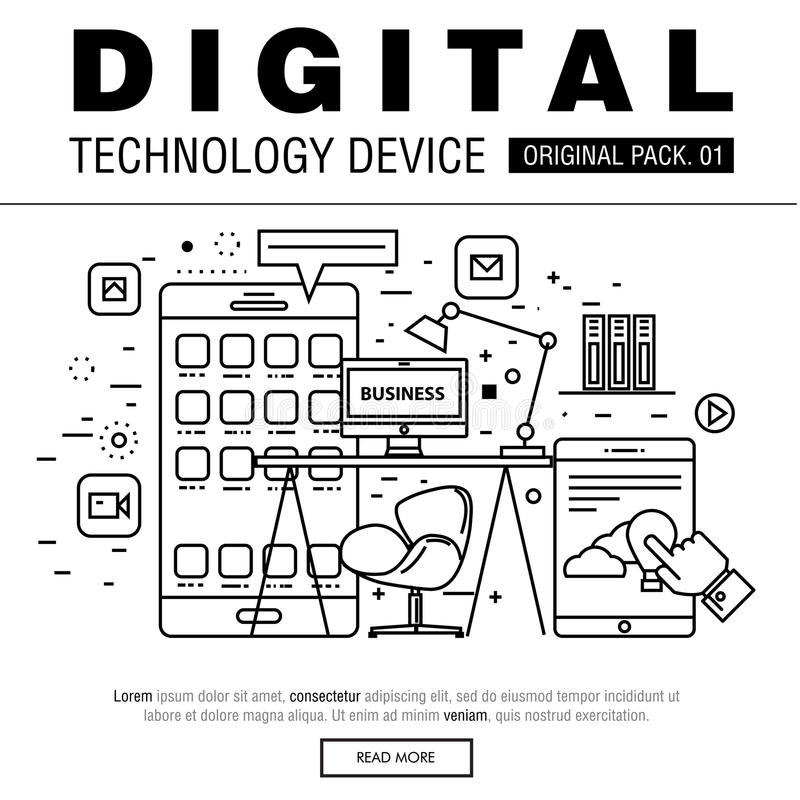 Современный пакет цифровой технологии иллюстрация вектора