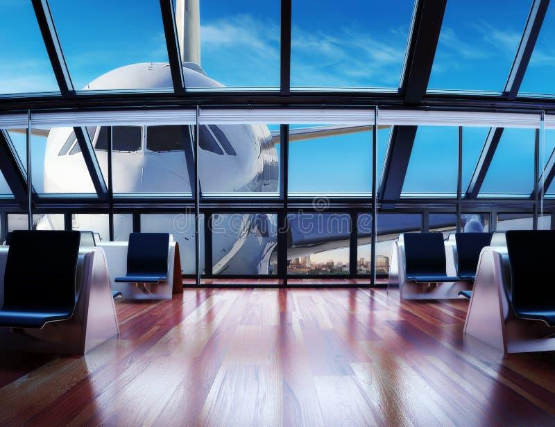Современный пассажирский терминал авиапорта иллюстрация штока