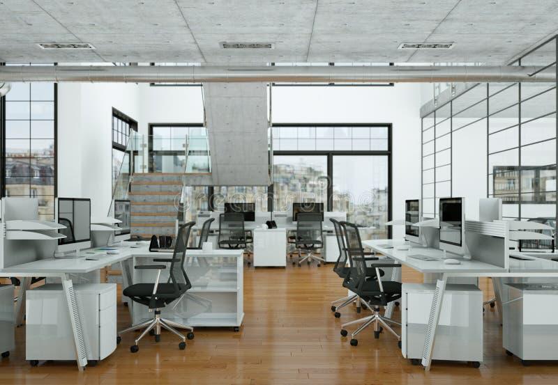 Современный перевод дизайна интерьера 3d домашнего офиса стоковые изображения rf