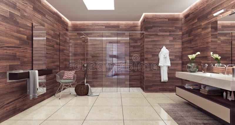 Современный перевод дизайна 3D ванной комнаты стоковое фото