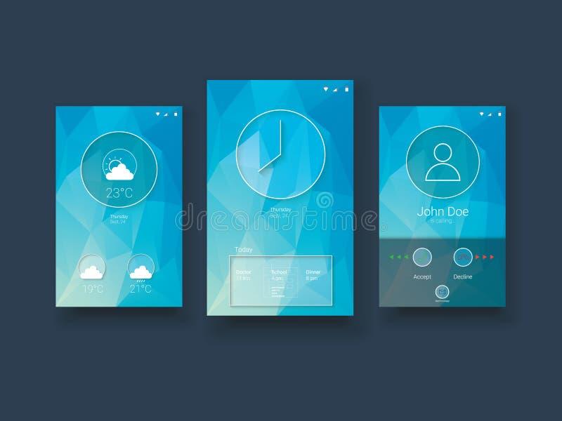 Современный передвижной шаблон пользовательского интерфейса с бесплатная иллюстрация