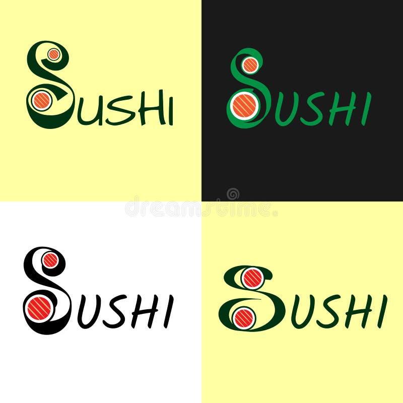 Современный плоский логотип для суш, комплекта, крена, japanise и азиатской еды бесплатная иллюстрация