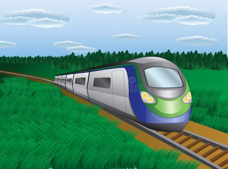 Современный поезд в ландшафте природы стоковые изображения rf