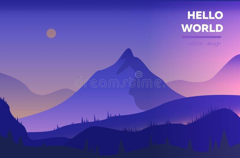 Современный полигональный ландшафт с горами также вектор иллюстрации притяжки corel иллюстрация вектора