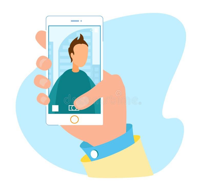 Современный пользовательский интерфейс камеры для рекламы смартфона иллюстрация штока