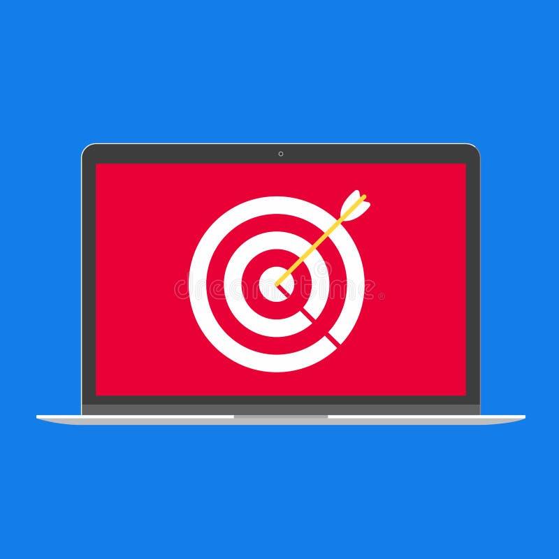 Современный прибор - дизайн ноутбука, компьютера или ПК netbook плоский с целью и стрелкой на иллюстрации вектора значка экрана иллюстрация вектора