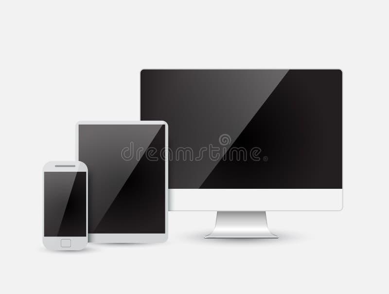 Современный прибор - монитор, компьютер, телефон, таблетка иллюстрация вектора