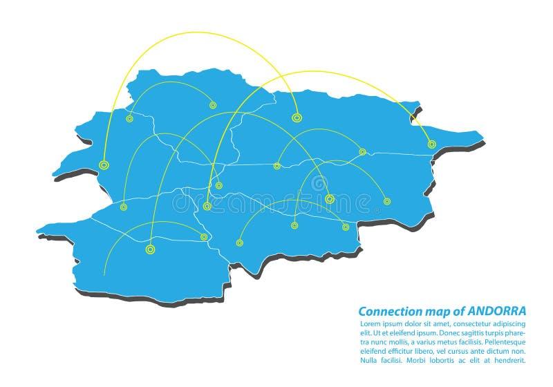 Современный проектирования сети соединений карты Андорры, самой лучшей концепции интернета дела карты Андорры от серии концепций бесплатная иллюстрация