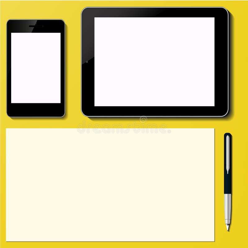 Современный пустой ПК таблетки и умный экран телефона с иллюстрация вектора
