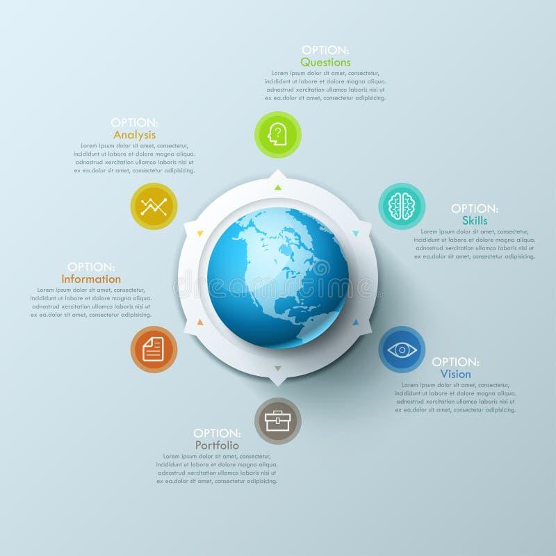 Современный план дизайна Infographic с землей планеты в центре и стрелки указывая на пиктограммы и текстовые поля иллюстрация штока