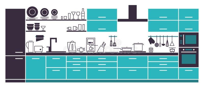 Современный план интерьера кухни бесплатная иллюстрация