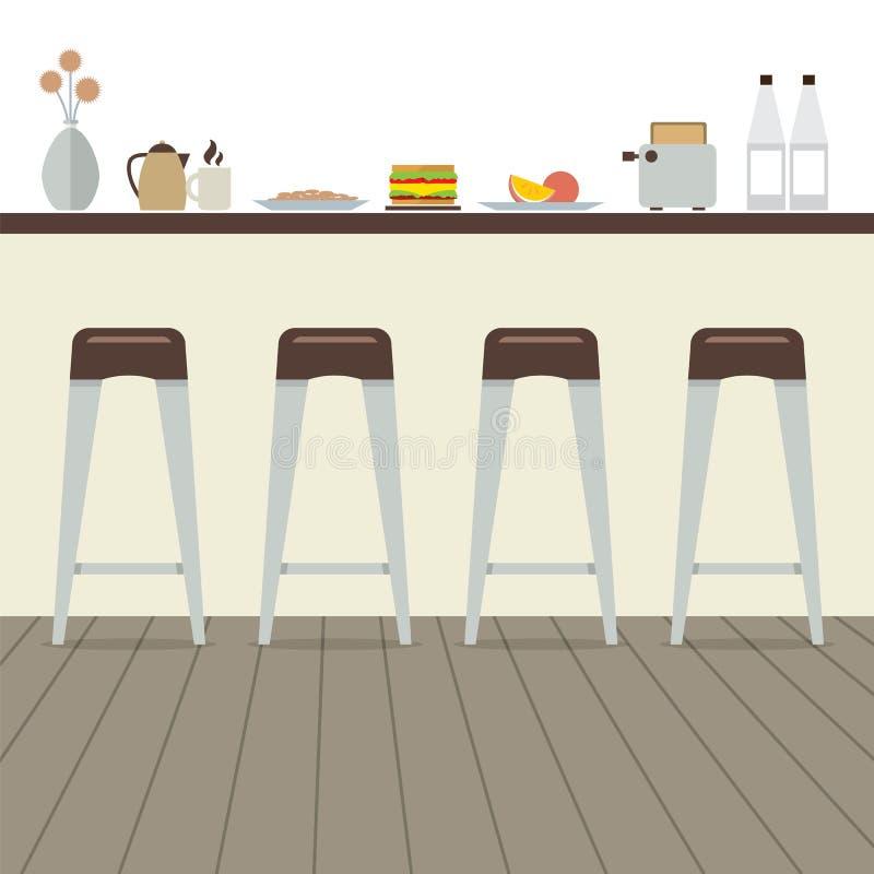 Современный плоский интерьер кухни дизайна иллюстрация вектора