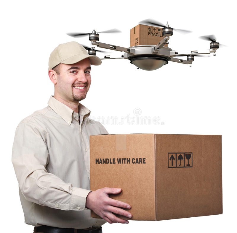 Современный работник доставляющий покупки на дом стоковое изображение
