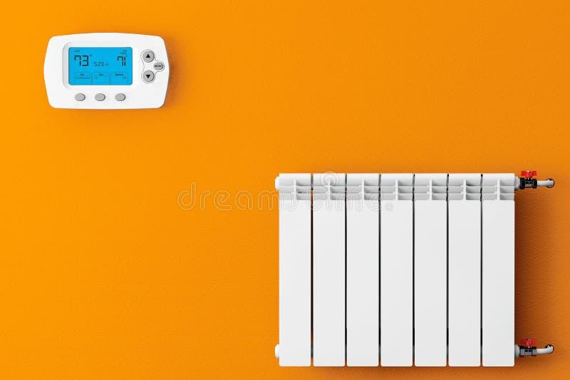 Современный радиатор топления с программируя термостатом стоковые изображения rf