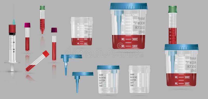 Современный реалистический контейнер вакуума 3d с крышкой и игла для blo бесплатная иллюстрация