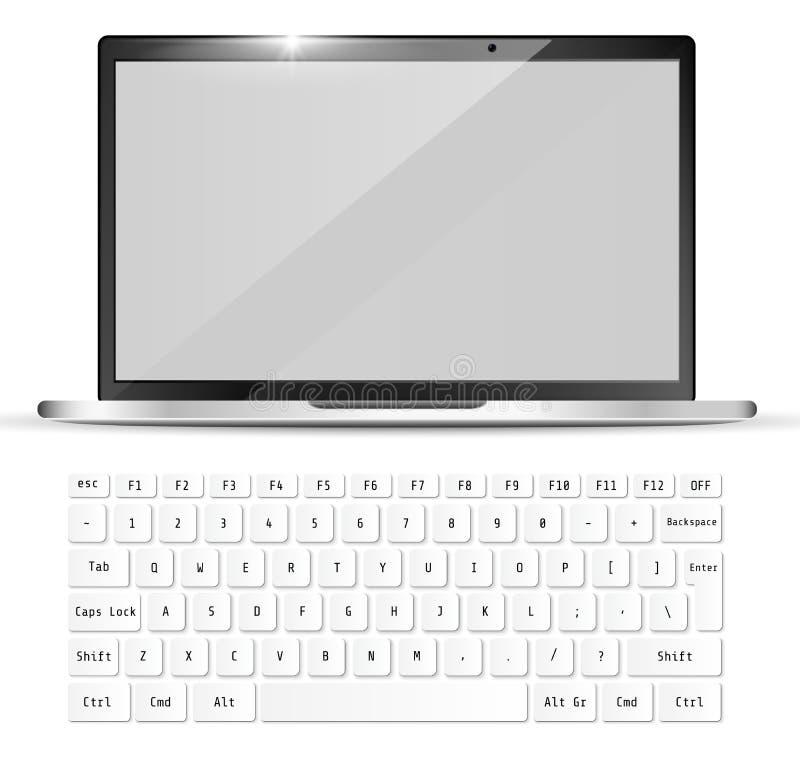 Современный реалистический ноутбук и белая клавиатура Модель-макет тетради также вектор иллюстрации притяжки corel иллюстрация вектора