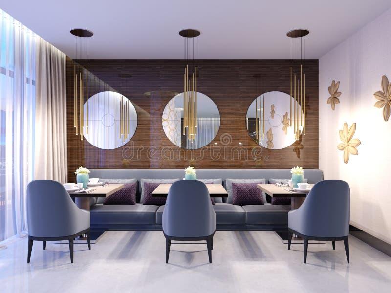 Современный ресторан с деревянной декоративной стеной и круглыми зеркалами Света шкентеля золота Пурпурные софа и стулья с таблиц иллюстрация штока
