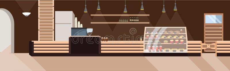 Современный ресторан фаст-фуда не опорожняет никакой интерьер кафа людей срочный плоско горизонтальный иллюстрация штока