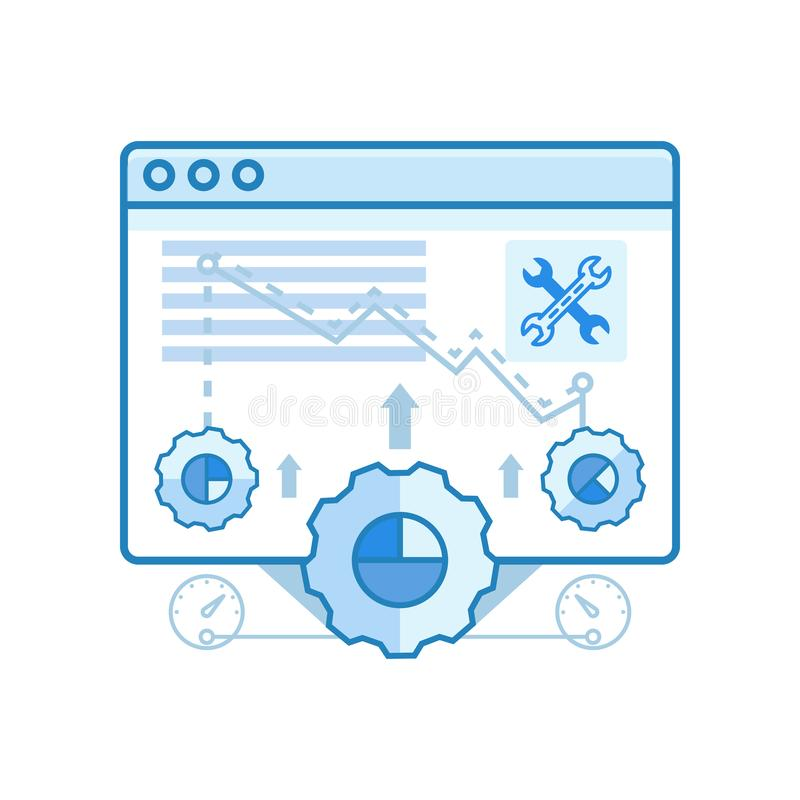 Современный ровный браузер, оптимизирование, установки конструирует значки для сети и графического дизайна, дизайна Ui, развития, бесплатная иллюстрация