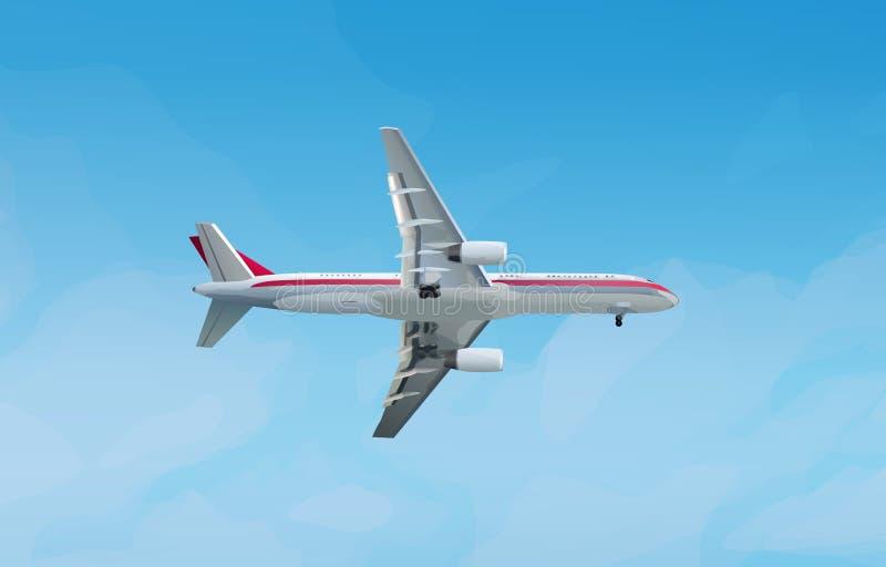 Современный самолет в небе иллюстрация штока