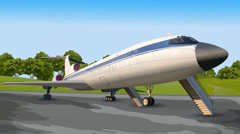 Современный самолет на взлётно-посадочная дорожка иллюстрация вектора