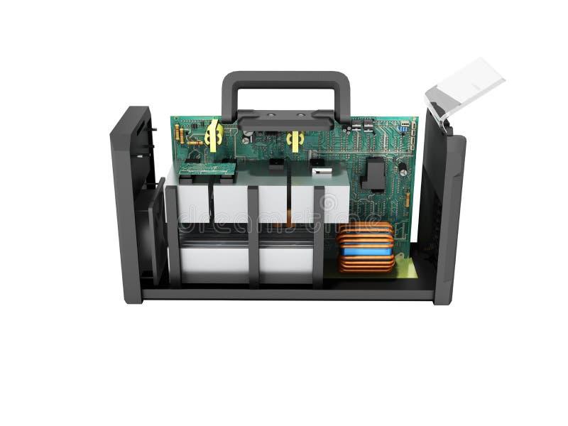 Современный сварочный аппарат инвертора на микросхемах разобранный f стоковое фото