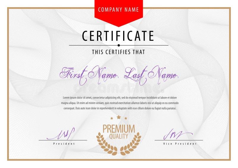 Современный сертификат Дипломы шаблона, валюта бесплатная иллюстрация