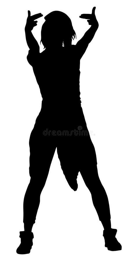 Современный силуэт девушки танцора стиля Сексуальная тазобедренная дама хмеля бесплатная иллюстрация