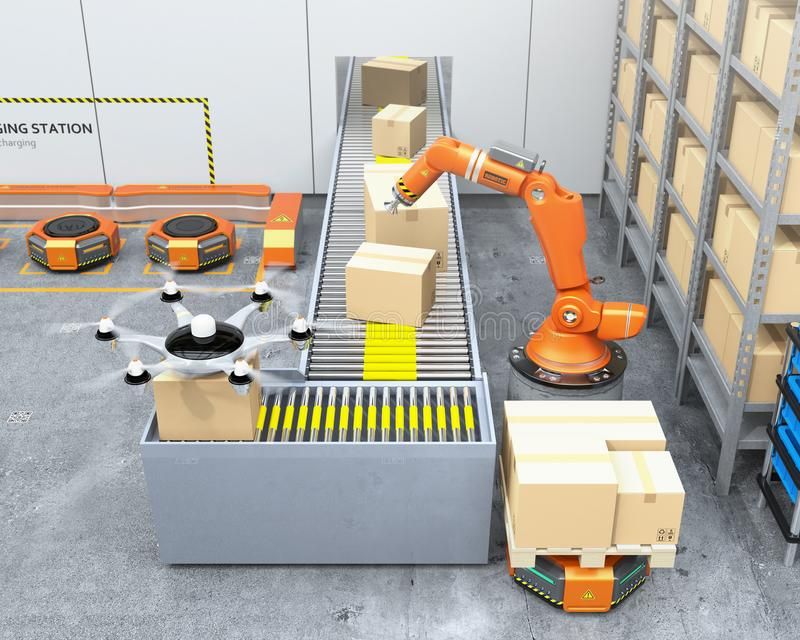 Современный склад оборудованный с робототехническими несущими руки, трутня и робота иллюстрация вектора