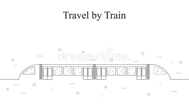 Современный скорый поезд линейный стиль иллюстрация вектора