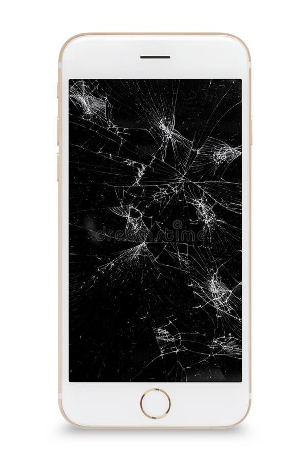Современный смартфон экрана касания со сломленным экраном изолированным на белой предпосылке стоковые фотографии rf