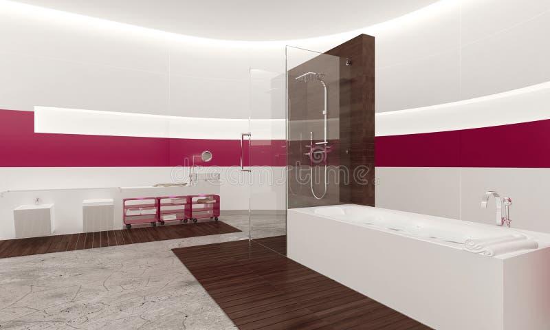 Современный современный белый и розовый интерьер ванной комнаты иллюстрация вектора
