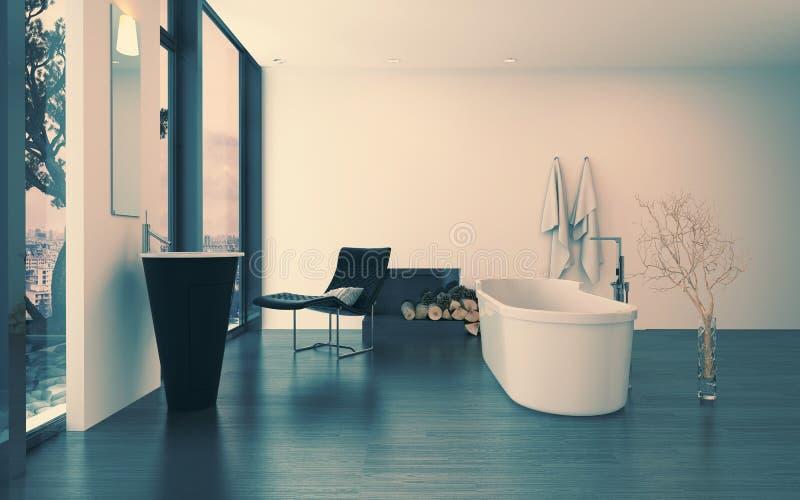 Современный современный роскошный интерьер ванной комнаты стоковое фото
