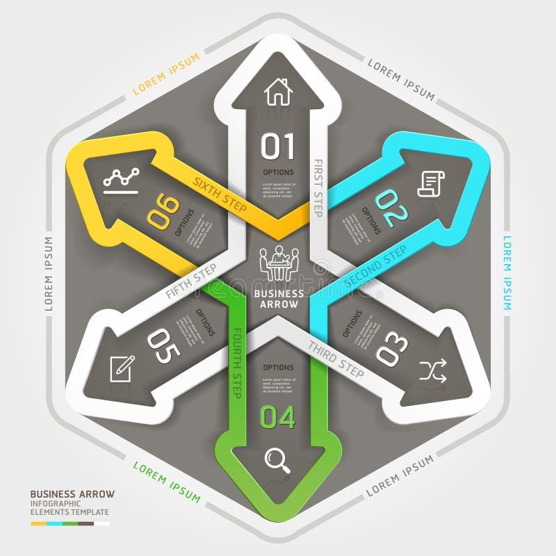 Современный стиль origami делового круга стрелки. иллюстрация вектора