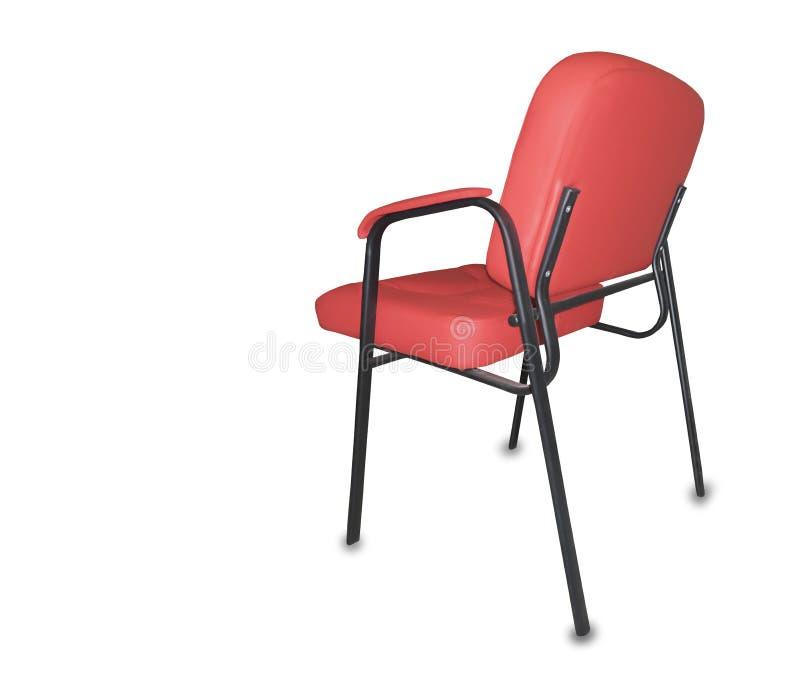 Современный стул офиса от красной кожи изолировано стоковые изображения rf